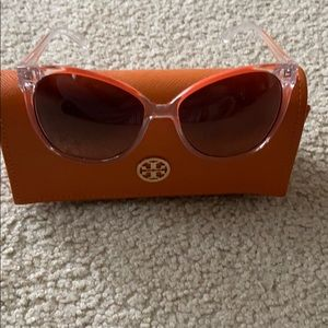 Tory Burch orange and clear sunglasses